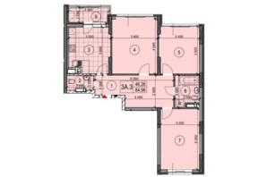 ЖК Теремки: планировка 3-комнатной квартиры 83.57 м²