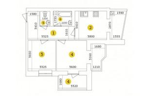 ЖК Тетеревский Бульвар: планировка 2-комнатной квартиры 71.09 м²