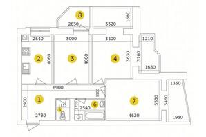 ЖК Тетеревский Бульвар: планировка 3-комнатной квартиры 90.07 м²