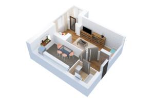 ЖК Тетерівський Бульвар: планування 1-кімнатної квартири 42.97 м²