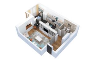 ЖК Тетерівський Бульвар: планування 1-кімнатної квартири 50.67 м²