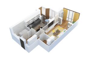 ЖК Тетерівський Бульвар: планування 1-кімнатної квартири 51.33 м²