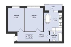 ЖК Тетрис: планировка 2-комнатной квартиры 60.3 м²