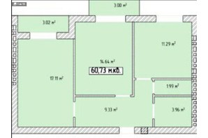 ЖК Тетрис: планировка 2-комнатной квартиры 61 м²
