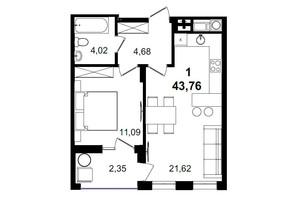 ЖК Tiffany apartments: планування 1-кімнатної квартири 43.76 м²