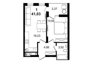 ЖК Tiffany apartments: планування 1-кімнатної квартири 41.03 м²