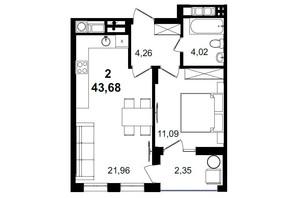 ЖК Tiffany apartments: планування 1-кімнатної квартири 43.68 м²