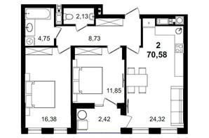 ЖК Tiffany apartments: планування 2-кімнатної квартири 70.58 м²