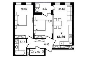 ЖК Tiffany apartments: планування 2-кімнатної квартири 66.89 м²