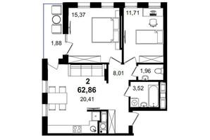 ЖК Tiffany apartments: планування 2-кімнатної квартири 62.86 м²