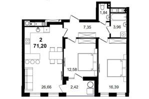 ЖК Tiffany apartments: планування 2-кімнатної квартири 71.2 м²