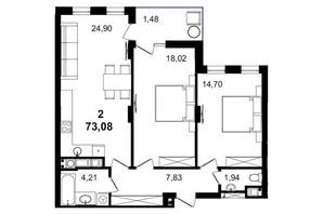 ЖК Tiffany apartments: планування 2-кімнатної квартири 73.08 м²