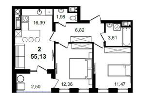 ЖК Tiffany apartments: планування 2-кімнатної квартири 55.13 м²