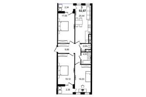 ЖК Tiffany apartments: планування 3-кімнатної квартири 92.87 м²
