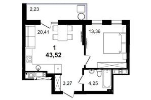 ЖК Tiffany apartments: планировка 1-комнатной квартиры 43.52 м²