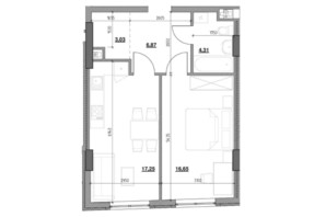ЖК Тополіс: планировка 1-комнатной квартиры 47.8 м²