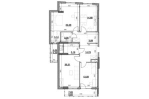ЖК Тополіс: планировка 3-комнатной квартиры 109.94 м²