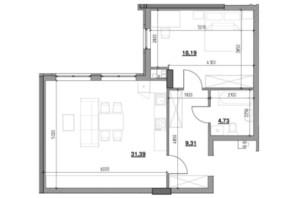 ЖК Тополіс: планировка 1-комнатной квартиры 63.56 м²