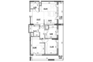 ЖК Тополіс: планировка 3-комнатной квартиры 92.05 м²