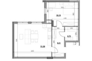 ЖК Тополіс: планировка 1-комнатной квартиры 63.09 м²