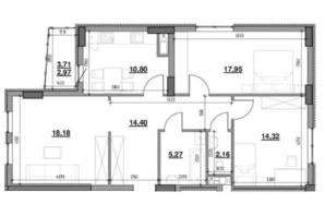 ЖК Тополіс: планировка 3-комнатной квартиры 86.05 м²