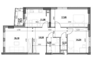 ЖК Тополіс: планировка 3-комнатной квартиры 85.15 м²
