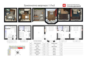 ЖК Трояндовый: планировка 3-комнатной квартиры 116.76 м²