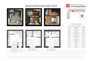 ЖК Трояндовый: планировка 2-комнатной квартиры 74 м²