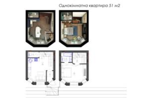 ЖК Трояндовый: планировка 1-комнатной квартиры 51.05 м²