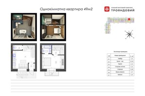 ЖК Трояндовый: планировка 2-комнатной квартиры 49.05 м²