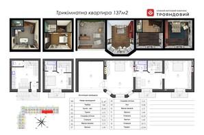ЖК Трояндовий: планування 3-кімнатної квартири 137.15 м²