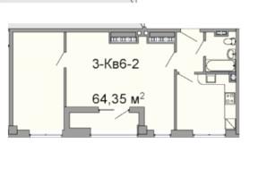 ЖК Троїцький: планування 2-кімнатної квартири 64.35 м²