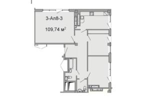 ЖК Троицкий: планировка 3-комнатной квартиры 109.74 м²