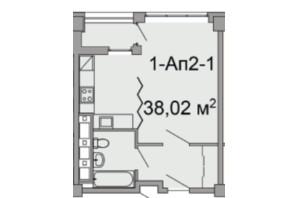 ЖК Троицкий: планировка 1-комнатной квартиры 38.02 м²