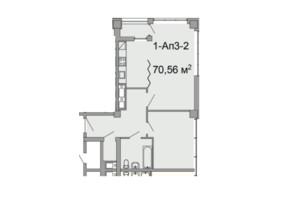 ЖК Троицкий: планировка 2-комнатной квартиры 70.56 м²