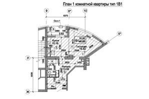 ЖК Триумф: планировка 1-комнатной квартиры 47.99 м²