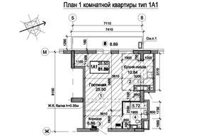 ЖК Триумф: планировка 1-комнатной квартиры 58.19 м²