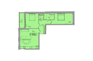 ЖК Централ Хол: планування 2-кімнатної квартири 75.5 м²
