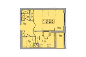 ЖК Централ Хол: планування 1-кімнатної квартири 43.9 м²
