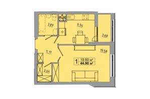 ЖК Централ Хол: планування 1-кімнатної квартири 44.9 м²
