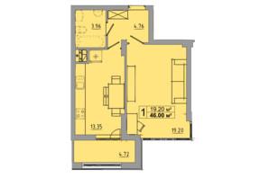 ЖК Централ Хол: планування 1-кімнатної квартири 46 м²