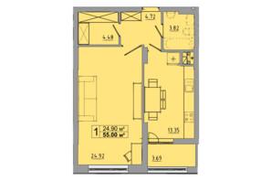 ЖК Централ Хол: планування 1-кімнатної квартири 55 м²