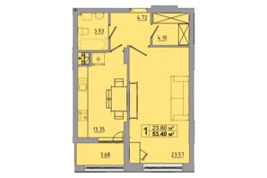 ЖК Централ Хол: планування 1-кімнатної квартири 53.4 м²