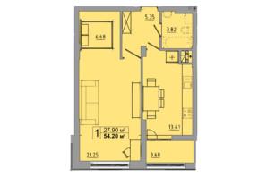 ЖК Централ Хол: планування 1-кімнатної квартири 54.2 м²
