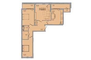 ЖК Централ Хол: планування 3-кімнатної квартири 99.2 м²