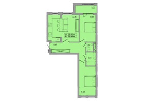 ЖК Централ Хол: планування 2-кімнатної квартири 72.8 м²