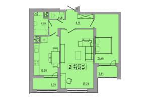 ЖК Централ Хол: планування 2-кімнатної квартири 73.4 м²