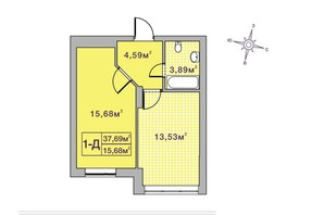ЖК Центральний-2: планування 1-кімнатної квартири 37.69 м²