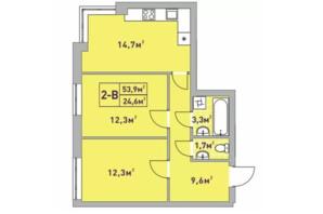 ЖК Центральный-2: планировка 2-комнатной квартиры 53.9 м²
