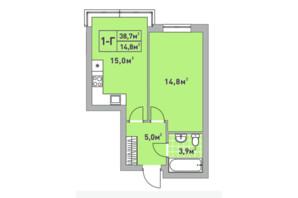 ЖК Центральный-2: планировка 1-комнатной квартиры 38.7 м²